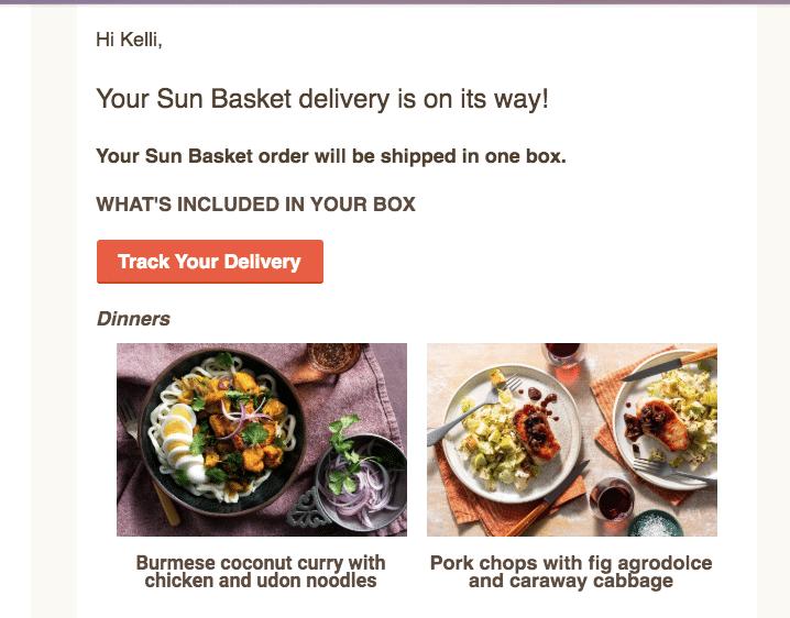 sun basket week 2 delivery notifcation