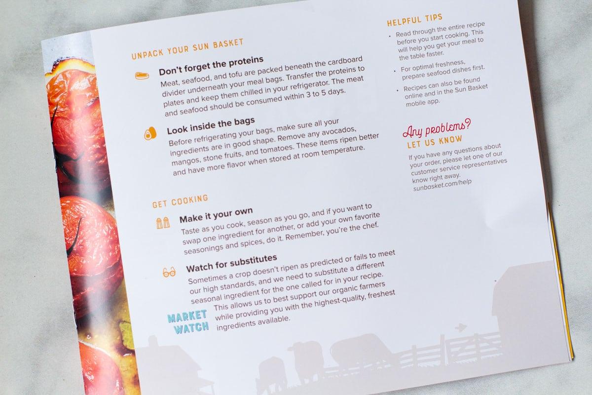sun basket instructions booklet image