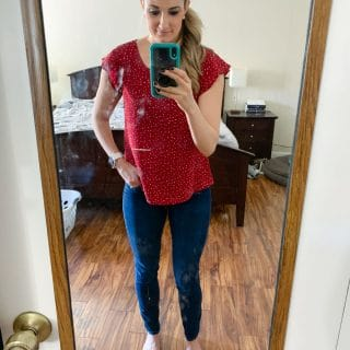polka dot shirt with jeans and side pony