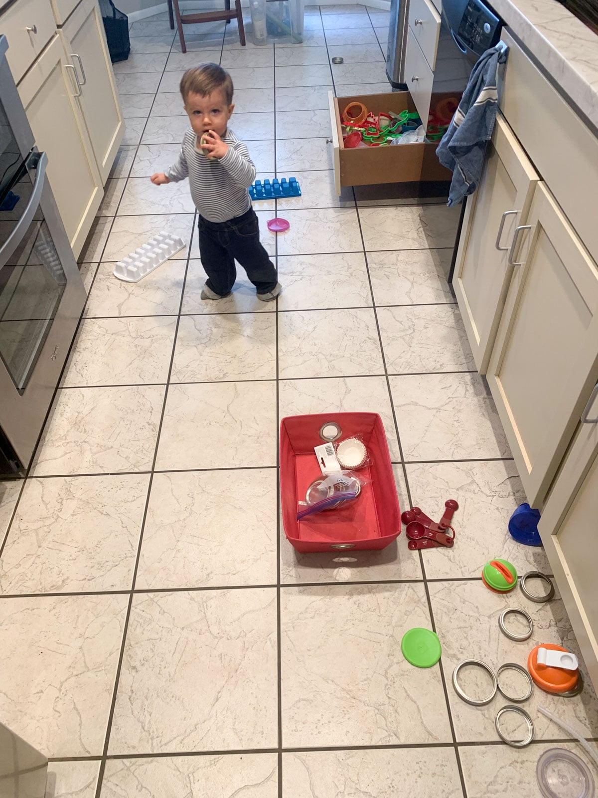 12 month old baby in kitchen