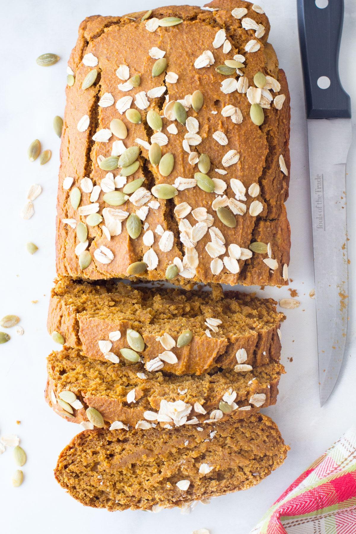 pumpkin oat flour bread