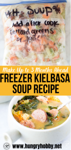 This healthy freezer meal is a veggie-loaded kielbasa soup that can be prepped 3 months ahead then cooked in the crockpot, instant pot, or on the stovetop.
