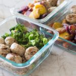 paleo meatballs, rice, and veggies meal prep-3