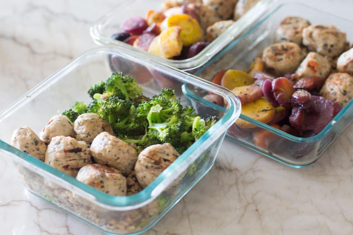 paleo meatballs, rice, and veggies meal prep-3