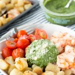 Sheet Pan Pesto Baked Cauliflower Gnocchi & Red Shrimp