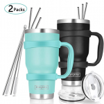 stainless steal cups black and green with stainless steel straws