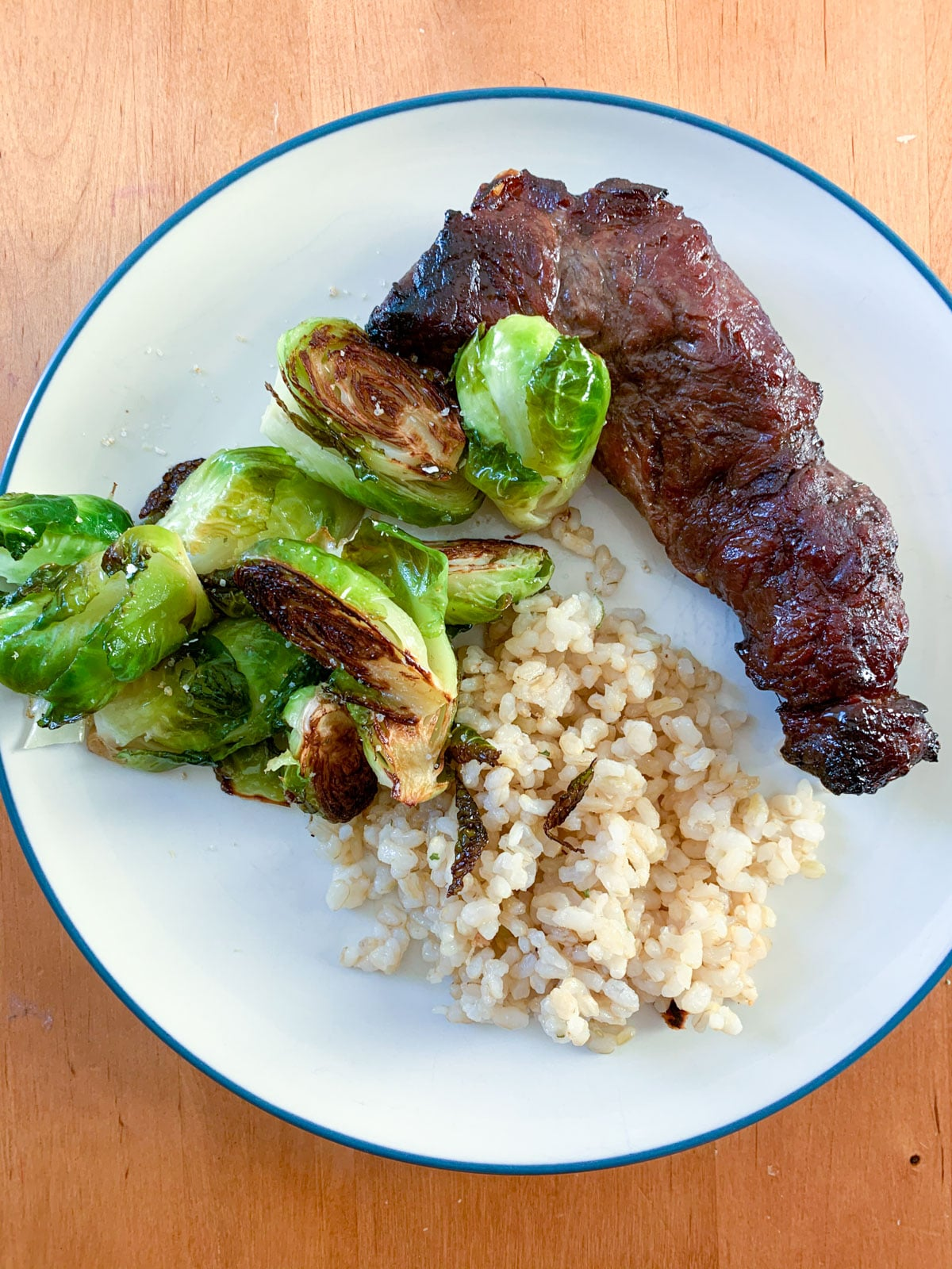 steak brussle sprouts brown rice