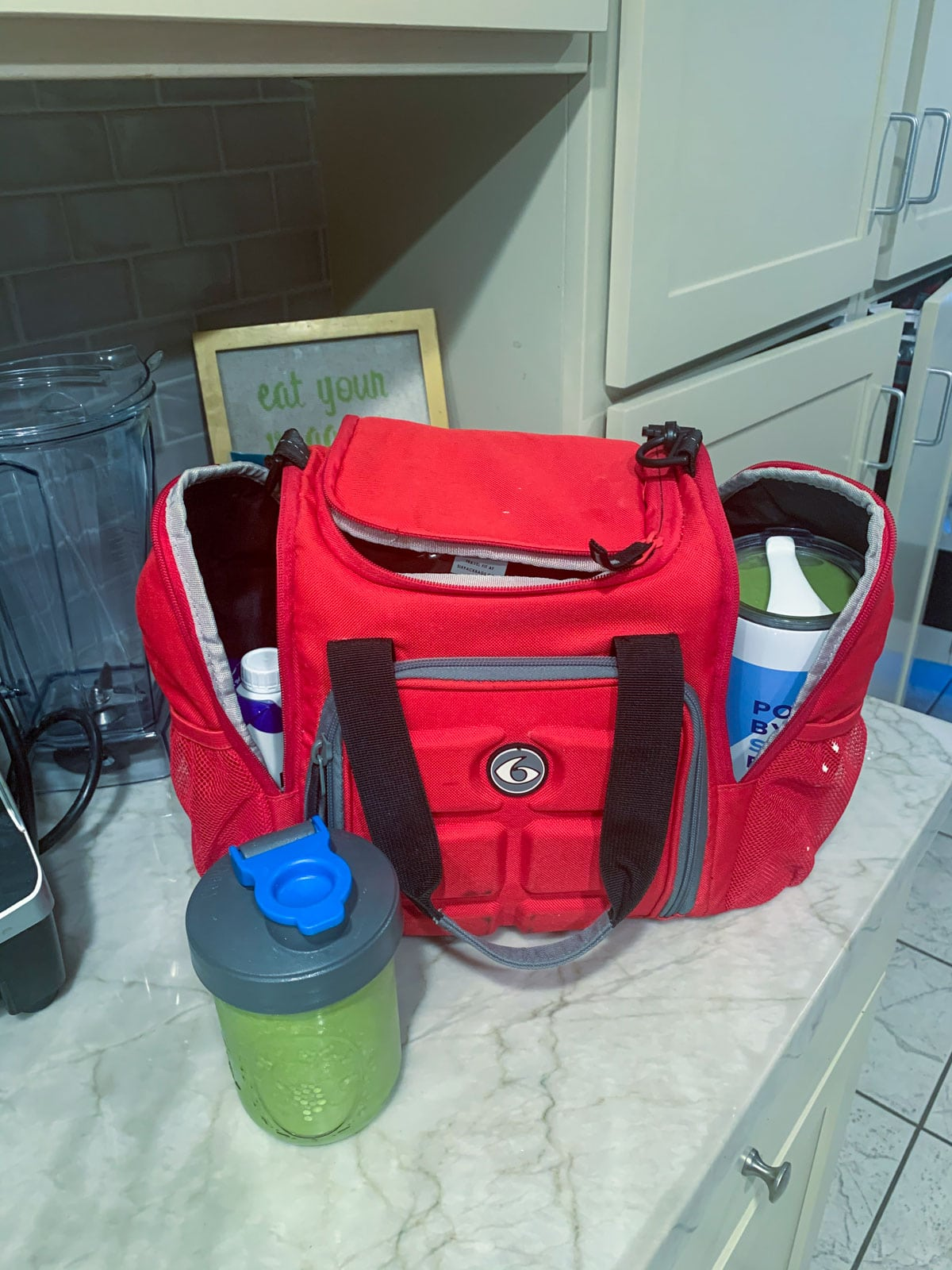 six pack lunch bag with smoothie in front