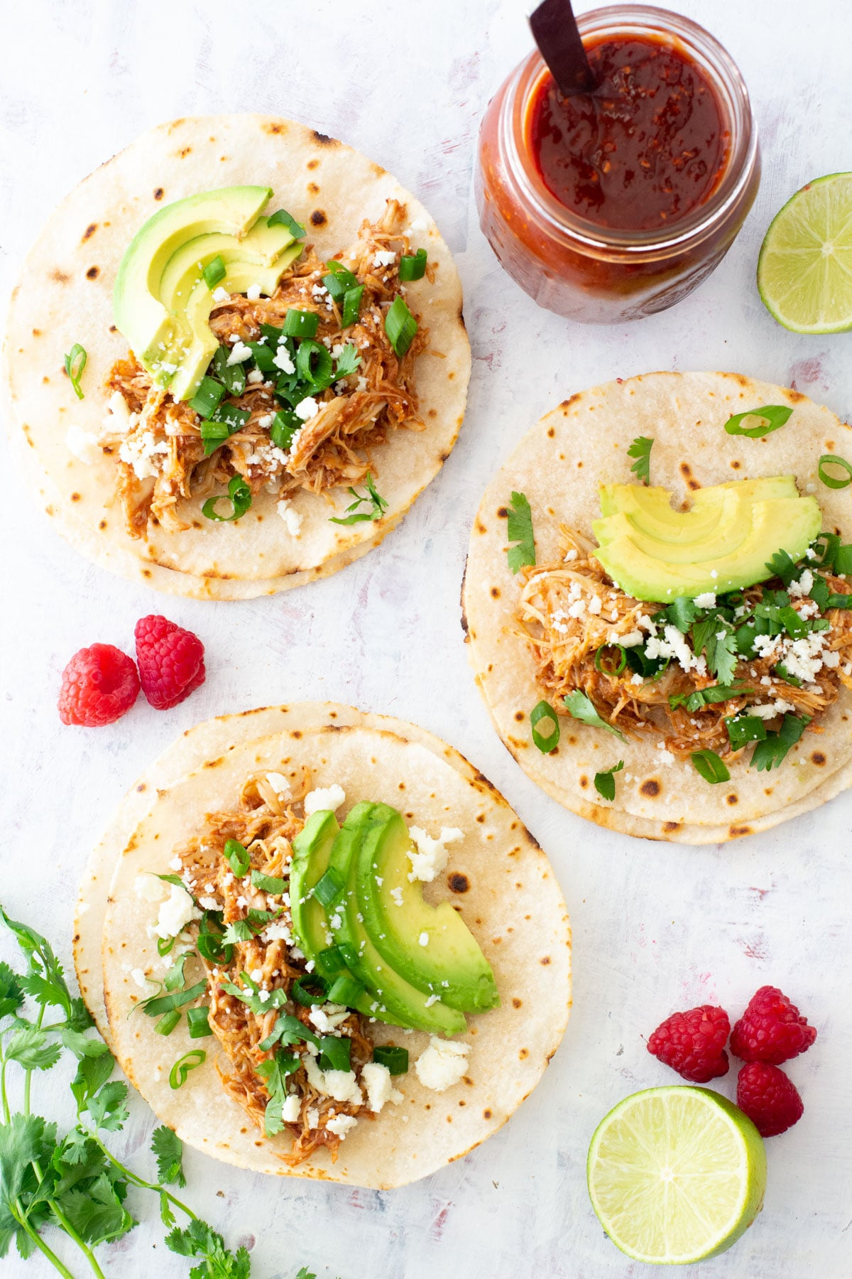 raspberry chipotle chicken tacos