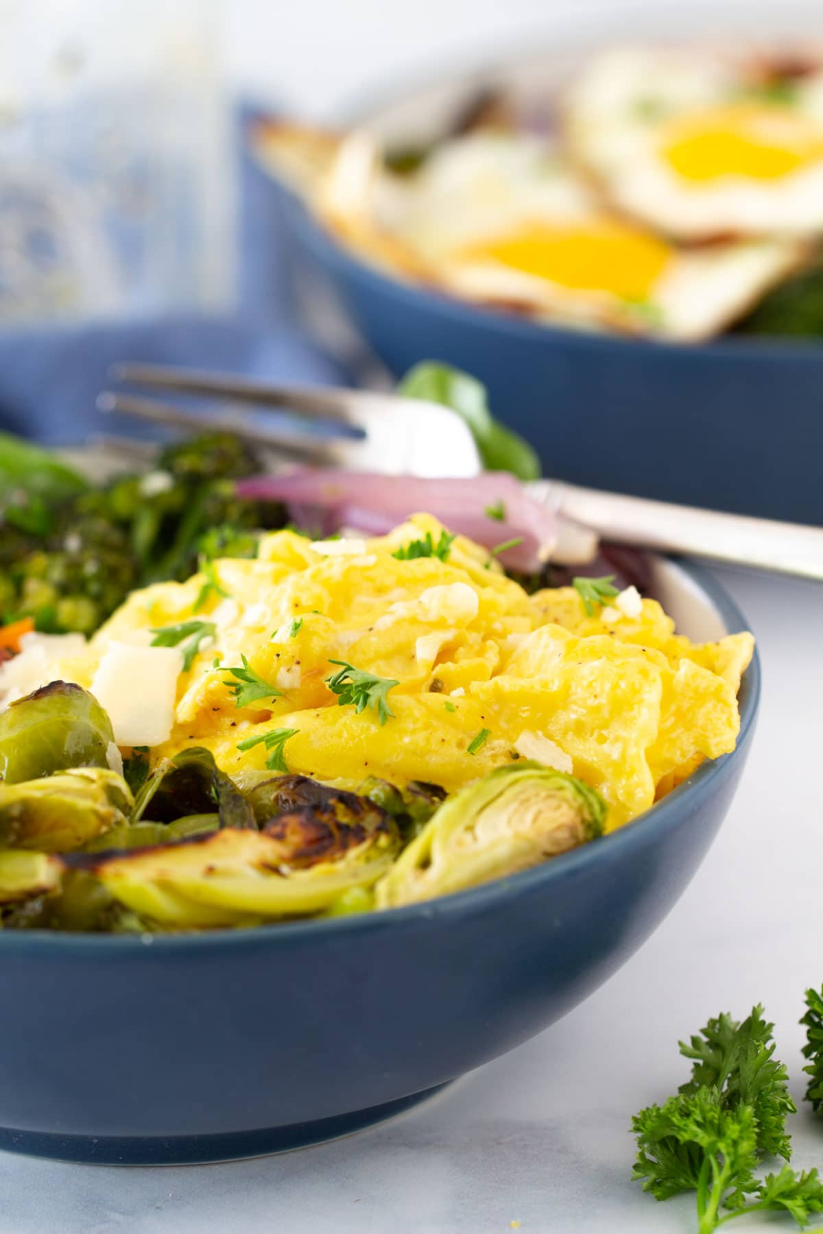 soft scrambled eggs with brussel sprouts broccoli and sweet potatoes