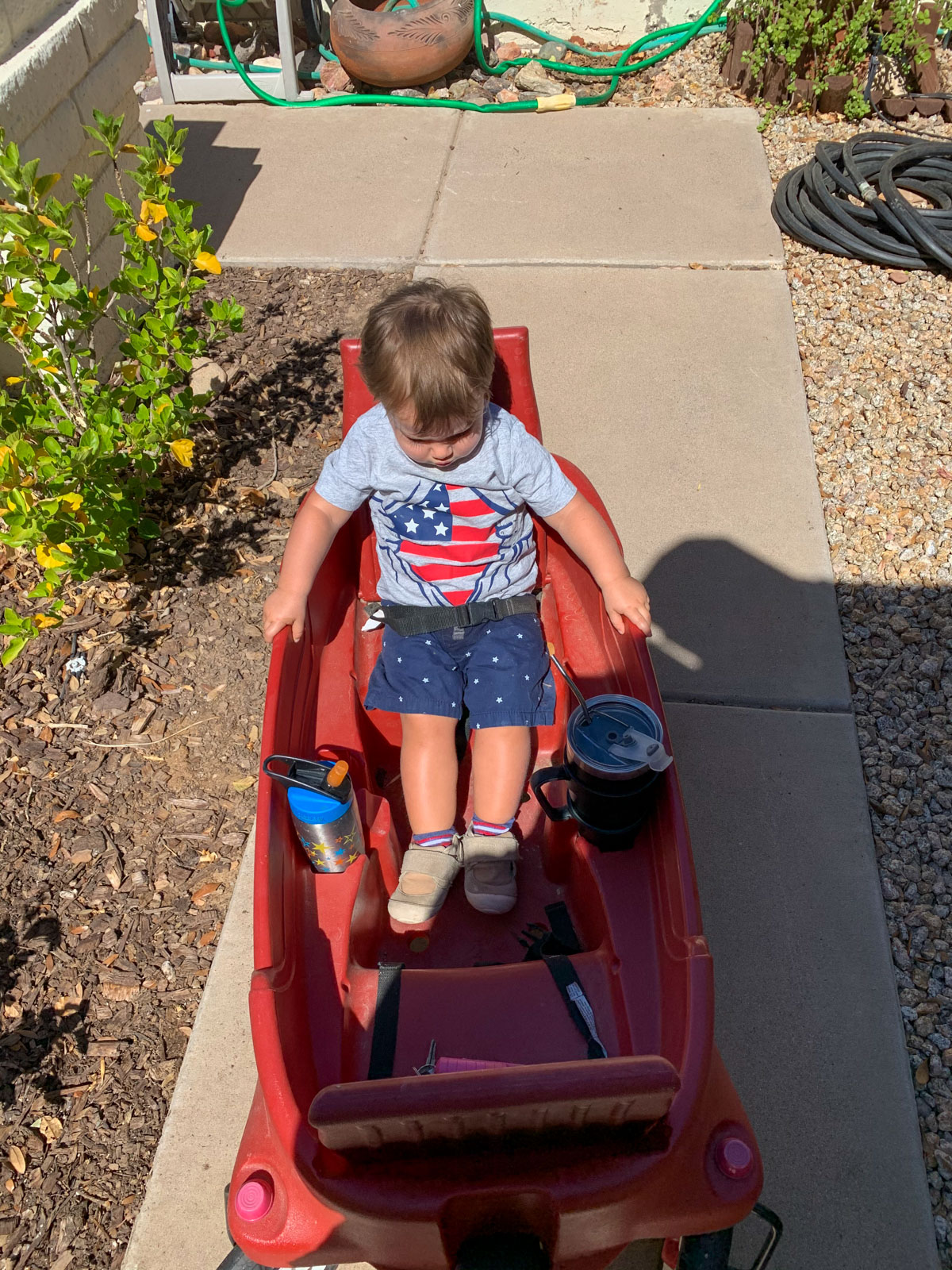 toddler in big red wagon