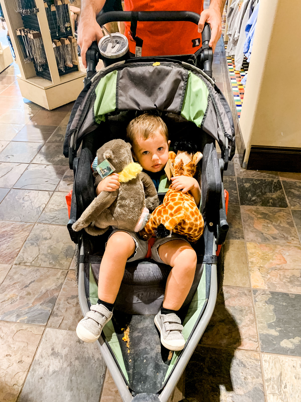 KJ with stuffed animals from gift shop