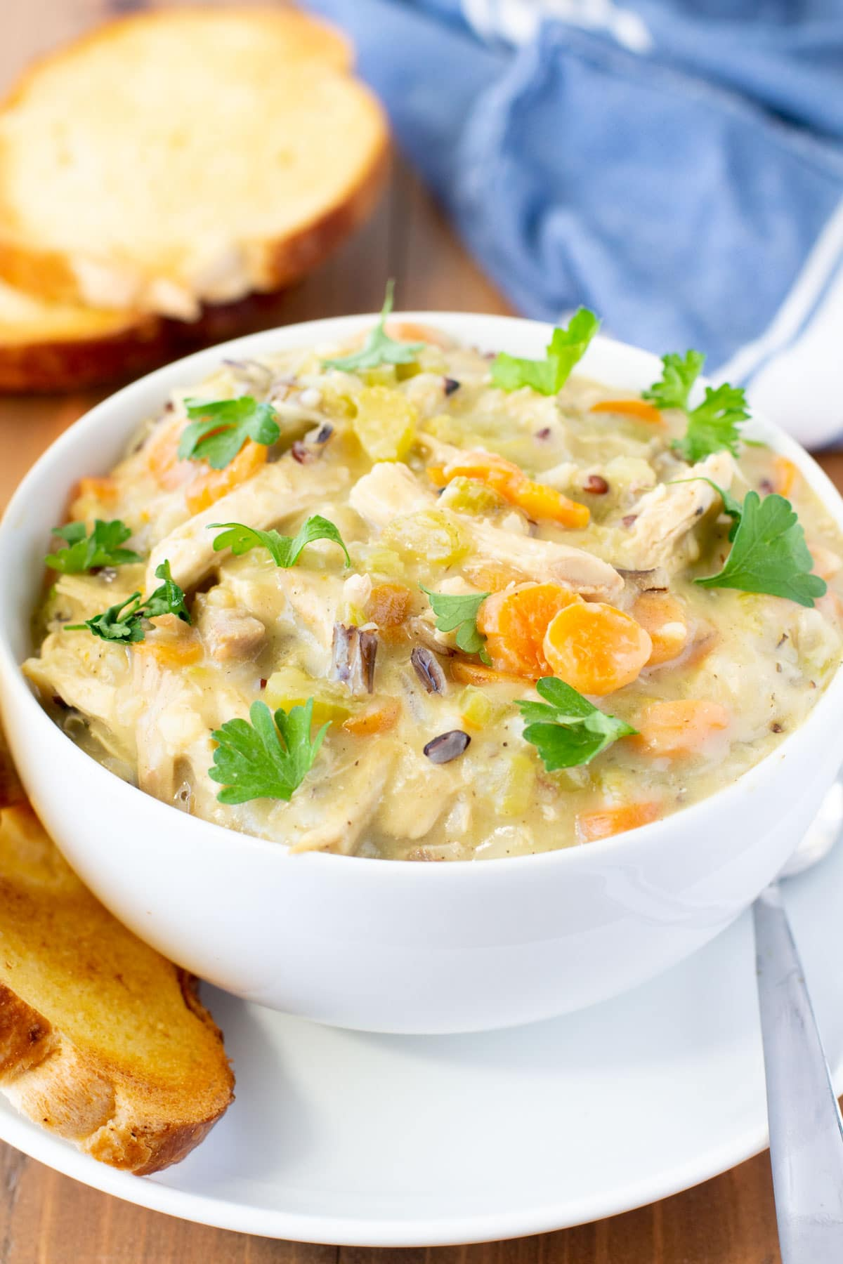 bowl of turkey and wild rice soup
