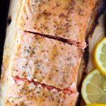 Honey Dijon Cedar Plank Salmon (with lemon slices)