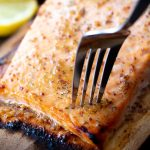 cedar plank salmon with honey dijon glaze