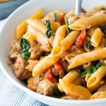 Sausage with Pasta and Spinach